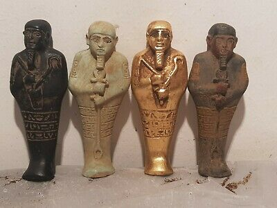 Rare Antique Ancient Egyptian 4 Ushabti Servant Minions dead mummy 1750-1680BC