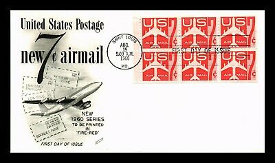 Dr Jim Stamps Us 7C Air Mail Booklet Pane Fleetwood First Day Cover