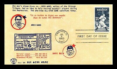 Dr Jim Stamps Us Arch Ward Babe Ruth Baseball First Day Cover Scott 2046