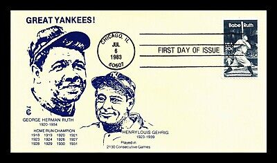 Dr Jim Stamps Us Great Yankees Lou Gehrig Babe Ruth First Day Cover Scott 2046