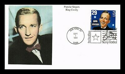 Dr Jim Stamps Us Popular Singers Bing Crosby First Day Cover Mystic