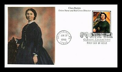 Dr Jim Stamps Us Clara Barton Union Nurse Civil War Fdc Mystic Cover