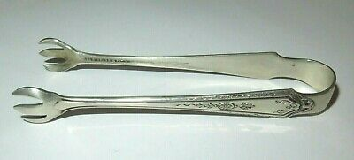 "Vintage Antique Sterling Silver Towle Sugar Cube Claw Tongs, 20g, 3.85"" long"