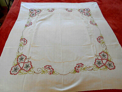 """Vtg White Tablecloth W/Hand Embroidered Floral Pattern & Crochet Edge 52 X 47"""""""