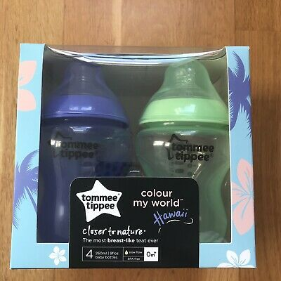 BNIB Tommee Tippee Closer to Nature Coloured Hawaii Bottles 0+Months 4x 260ml