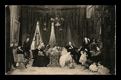 Dr Jim Stamps Us Family Group Painting Eastman Johnson Topical Postcard