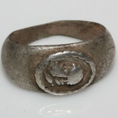 Scarce-Ancient Greek Silver Ring Depicting Male Head Circa 300-50 Bc