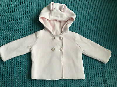 Mothercare Baby Girl Hooded Pink Jacket 0-3 Months Great Condition Bear Ears