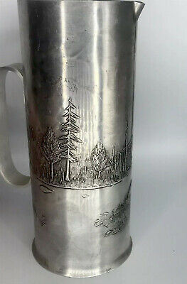 wendell august pitcher 8.5' fish and forest scene