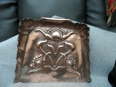 Arts And Crafts Solid Copper Crumb Tray. Repousse Unusual  Rare Design Signed