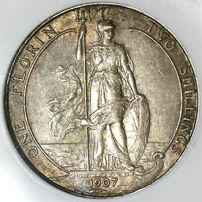 1907 NGC XF 40 Florin Edward VII Great Britain Silver 2 Shilling Coin (20021604C