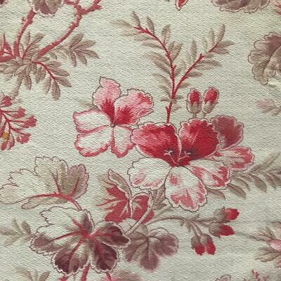 BEAUTIFUL 19th CENTURY FRENCH NAPOLEON III FLORAL LINEN COTTON 805