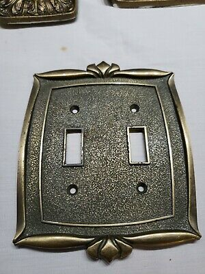 Vintage Donner 74C Double Light Switch Cover Plate Brass Finish Victorian Ornate