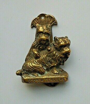 Vintage SCOTTISH TERRIERS Brass Door Knocker– Unusual Novelty