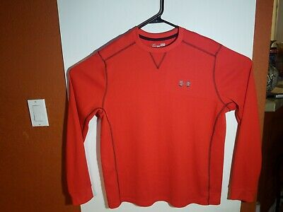 Mens Under Armour Red Pullover ColdGear   Loose Fit Sz Large L Polyester Blend