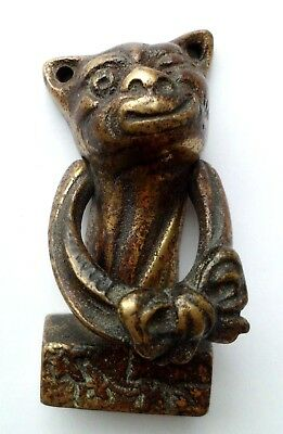 Vintage CHESHIRE CAT, WINKING CAT Brass Door Knocker–-Grotesque, Unusual Novelty