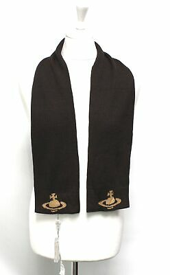 Men's VIVIENNE WESTWOOD Brown Wool Blend Knitted Scarf BNWT - H29