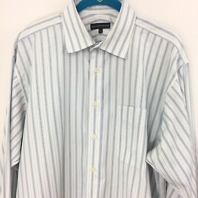 Hart Schaffner Marx 16.5 33 Mens Large Blue White Stripe Dress Shirt 100% Cotton