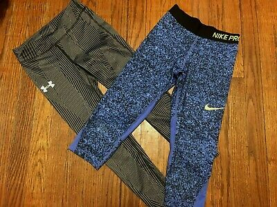 Lot of Girls Under Armour Compression Leggings & Nike Pro Leggings Size 7-8