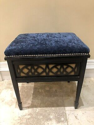 Antique Victorian/Edwardian Piano Stool Black Ebonised Stylish Blue Velvet Seat