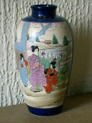 An Antique Japanese Meiji Period Satsuma Hand Painted Enamel Pottery Vase VGC