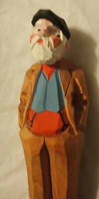 "Vintage Hannah Canada Hand Carved Folk Art Wood Figure Old Man  5 1/2"" Tall"