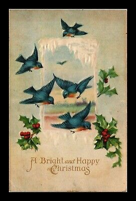 Dr Jim Stamps Us Bright And Happy Christmas Embossed Topical Greetings Postcard