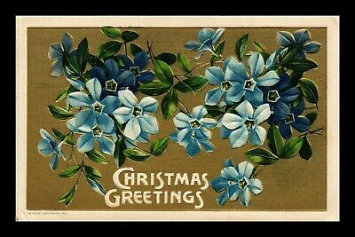 Dr Jim Stamps Us Christmas Flowers Embossed Topical Greetings Postcard