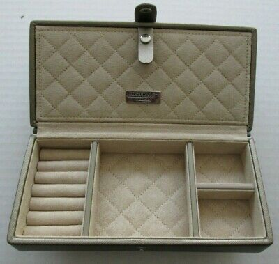 Faux Gold Leather LusterLoc Jewelry Travel Case-Snap Closure-Multi Compartment
