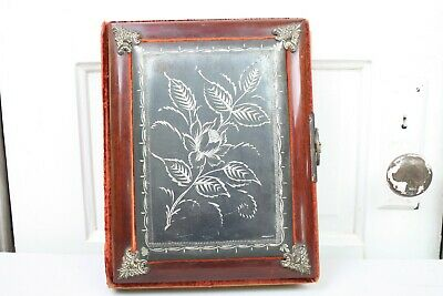 Antique Photo Album Silver Plate Art Nouveau Front Velvet 18 Page 32 Photos OLD