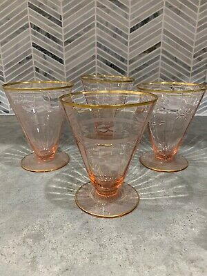 PINK Depression Glass Gold Rim Etched Flowers Sherbet Dessert Footed Cups