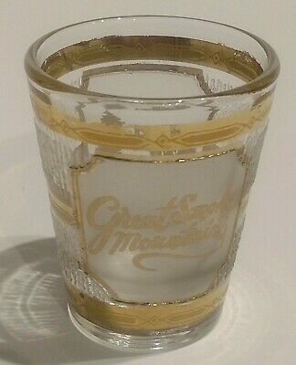 Vintage Culver 22K Gold Shot Glass Great Smoky Mountains Bear Frosted