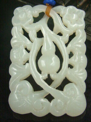 Antique Chinese Celadon Nephrite Hetian-White Jade Hollowed FULUS Statue/Pendant