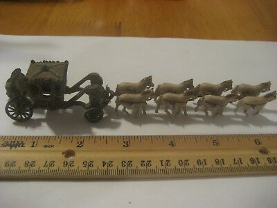 Vintage Miniature 8 Ceramic Horse Drawn Cast Iron Carriage Fabulous Very Old