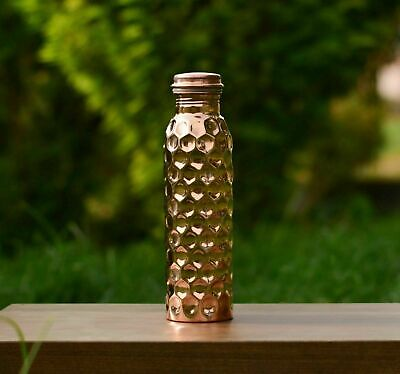 950 ML 100 % Pure Copper Hammered Water Bottle Ayurveda Health Benefits Pot FS