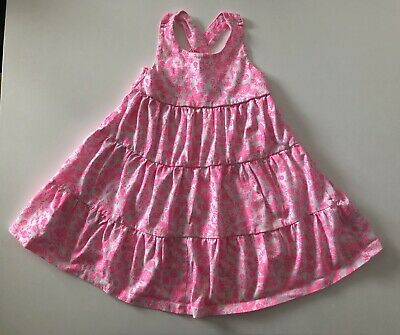Baby Girls Mothercare Neon Pink & White Floral Dress Cross Back 18-24 Months