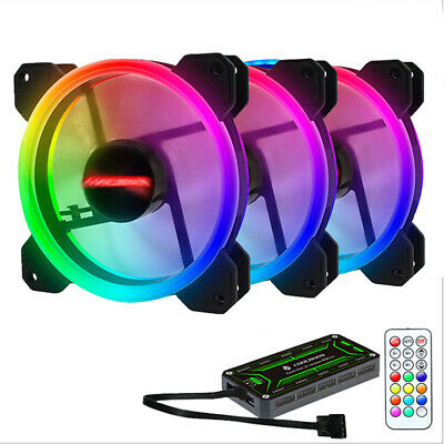 3 Pack RGB LED Quiet Computer Case PC Cooling Fan 120mm with 1 Remote Control