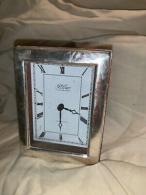 Sterling Silver Fronted Desk Clock. Made By R Carr Clockmaker. Sheffield 1990's