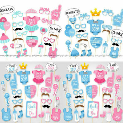 Baby Shower Gender Reveal New Born Party Supplies Boy or Girl Photo Booth Props