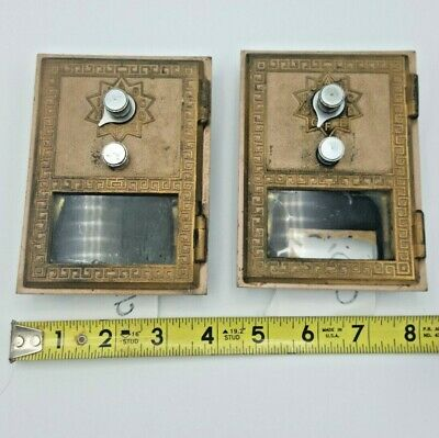 Antique Post Office Box Door lot two (2), Brass,complete each w/ combo. working