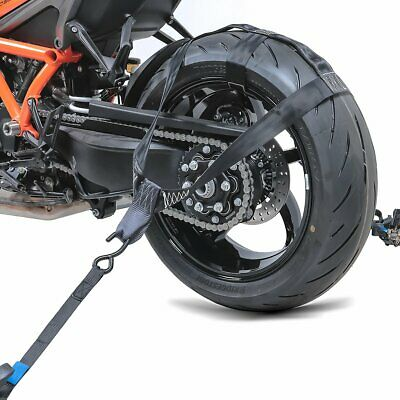 Motorcycle Rear wheel tie-down strap set with 4x ratchet tension belt black