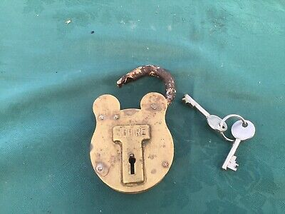 Vintage Squire 770 Padlock Old English Solid Brass with Keys