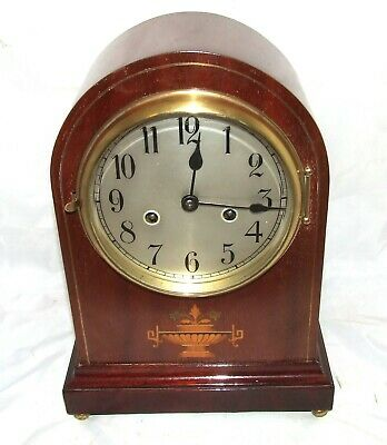 GUSTAV BECKER SILESIA Antique Inlaid Mahogany Arch top Bracket / Mantel Clock