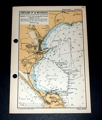 PORTLAND HARBOUR & WEYMOUTH, Dorset - Rare WW2 vintage Naval Map 1943