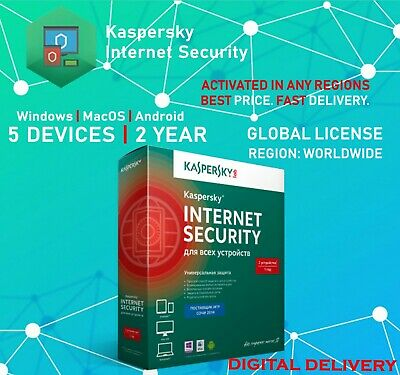 Kaspersky Internet Security 2020 5 Multi-device PC Users 2 Years Global Key Full