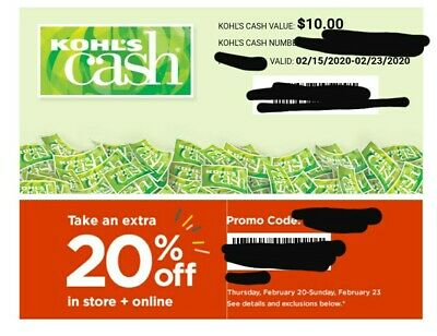 $10 Kohls Cash  Valid 2-15-20 to 2-23-20 Fast Electronic Delivery