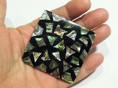 Large Vintage Mid Century Plastic Lucite Inlaid Abalone Brooch Pendant Pin