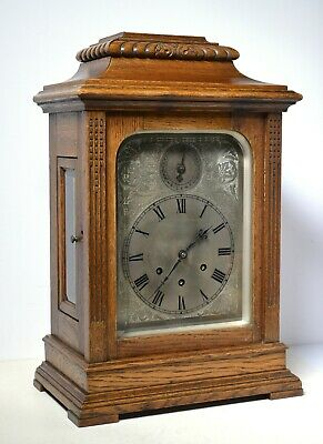 Great Running 5 Rods Chiming Gustav Becker Library Clock early 20C