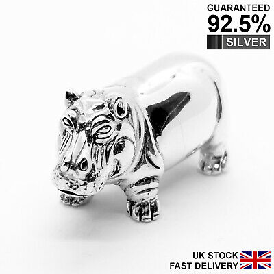 925 Sterling Silver Miniature Hippo Animal Figurine ✔️Solid✔️Quality Gift✔️UK