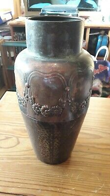 Arts crafts art nouveau Copper Vase Handmade Approx 12 inch Tall